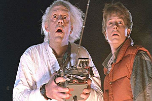 Marty McFly and Doc Brown from the movie Back to the Future.